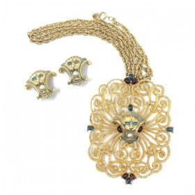 Jomaz 1960s Enamel and Faux Pearl Lions Vintage Necklace and Earrings Set