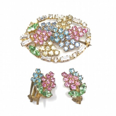 1950s Multi-Coloured Rhinestone Lupin Design Vintage Brooch and Earrings Set
