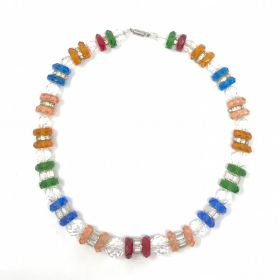 1930s Multi-Coloured Glass Bead and Rhinestone Vintage Necklace