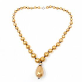 1950s French Bronze Bead Vintage Necklace