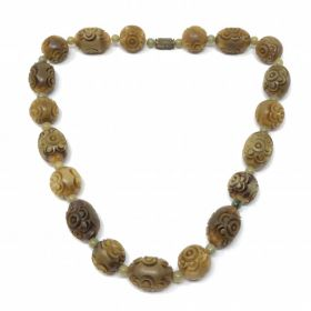 1930s Carved Celluloid Bead Vintage Necklace
