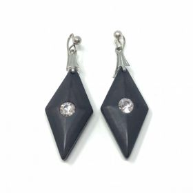1970s Black Lucite and Rhinestone Art Deco Style Vintage Drop Earrings