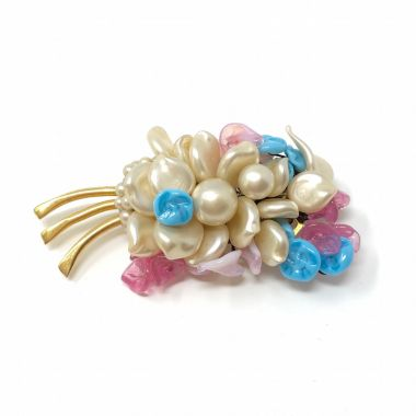 Louis Rousselet 1950s Faux Pearl and Glass Vintage Brooch